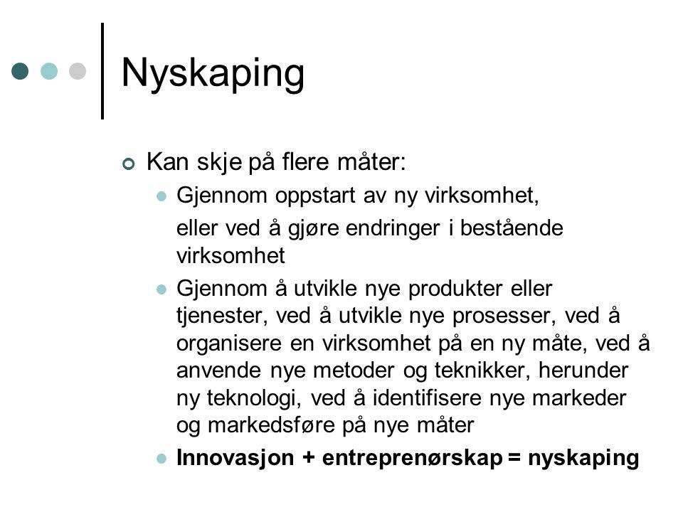 Nyskaping Kan skje på flere måter: Gjennom oppstart av ny virksomhet, eller ved å gjøre endringer i bestående virksomhet Gjennom å utvikle nye produkt