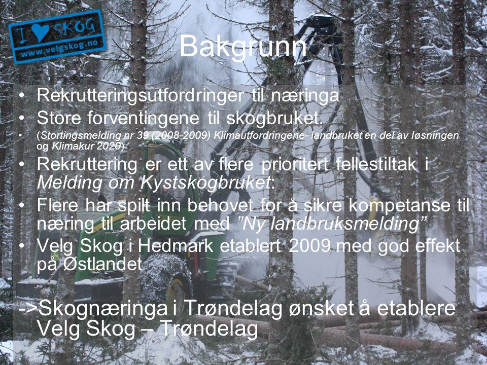 Målsetting Skaffe flere trønderske søkere til utdanninger som gir relevant kompetanse for skognæringa, samt bidra til at skogbruk blir synlig som et reelt utdanningsvalg.