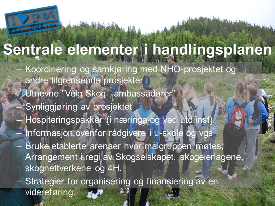 """Sentrale elementer i handlingsplanen –Koordinering og samkjøring med NHO-prosjektet og andre tilgrensende prosjekter –Utnevne """"Velg Skog –ambassadører"""