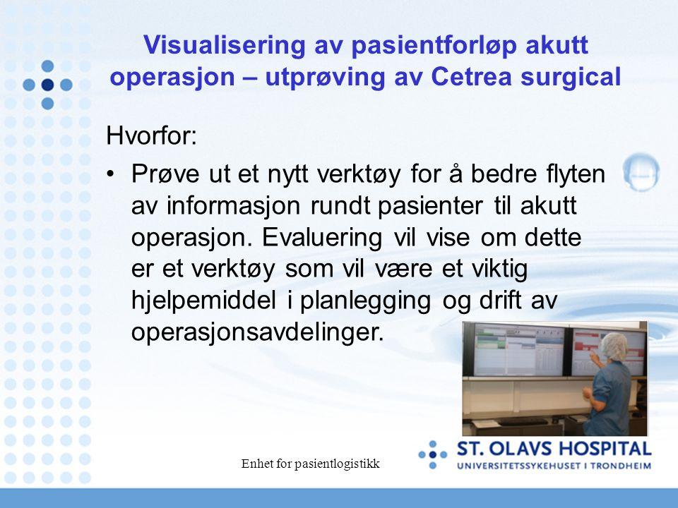 Enhet for pasientlogistikk Hvorfor: Prøve ut et nytt verktøy for å bedre flyten av informasjon rundt pasienter til akutt operasjon.