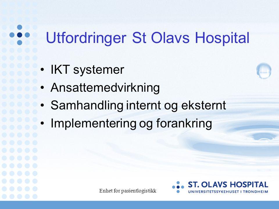 Enhet for pasientlogistikk Utfordringer St Olavs Hospital IKT systemer Ansattemedvirkning Samhandling internt og eksternt Implementering og forankring