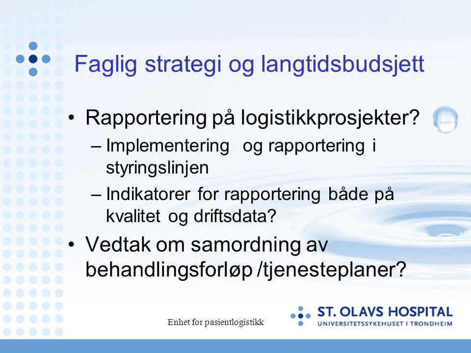 Enhet for pasientlogistikk Faglig strategi og langtidsbudsjett Rapportering på logistikkprosjekter.