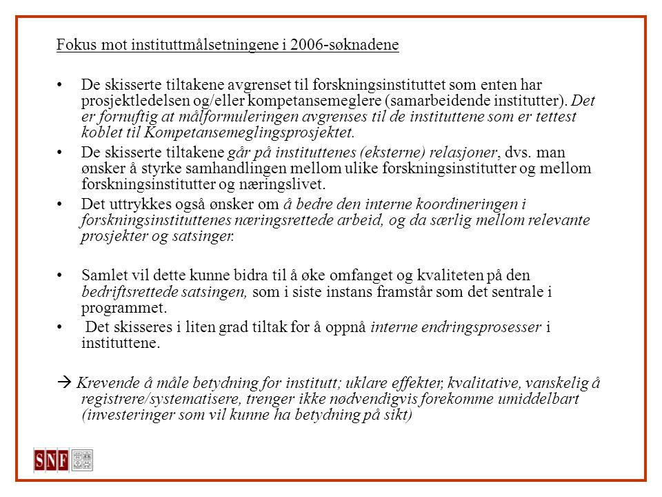 Fokus mot instituttmålsetningene i 2006-søknadene De skisserte tiltakene avgrenset til forskningsinstituttet som enten har prosjektledelsen og/eller kompetansemeglere (samarbeidende institutter).