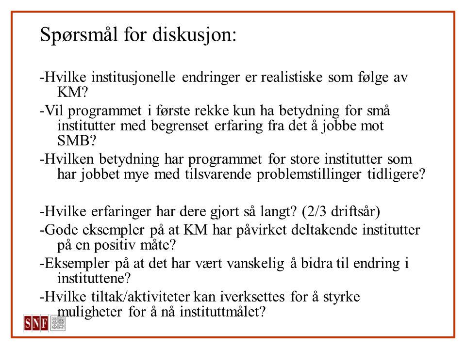 Spørsmål for diskusjon: -Hvilke institusjonelle endringer er realistiske som følge av KM? -Vil programmet i første rekke kun ha betydning for små inst