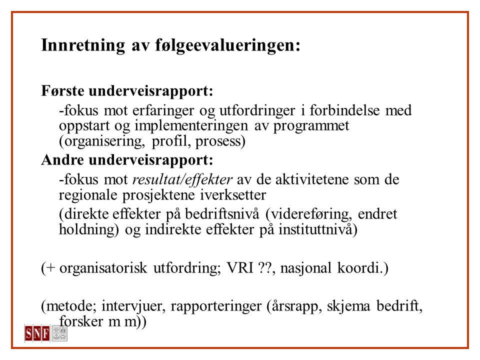 Innretning av følgeevalueringen: Første underveisrapport: -fokus mot erfaringer og utfordringer i forbindelse med oppstart og implementeringen av programmet (organisering, profil, prosess) Andre underveisrapport: -fokus mot resultat/effekter av de aktivitetene som de regionale prosjektene iverksetter (direkte effekter på bedriftsnivå (videreføring, endret holdning) og indirekte effekter på instituttnivå) (+ organisatorisk utfordring; VRI , nasjonal koordi.) (metode; intervjuer, rapporteringer (årsrapp, skjema bedrift, forsker m m))