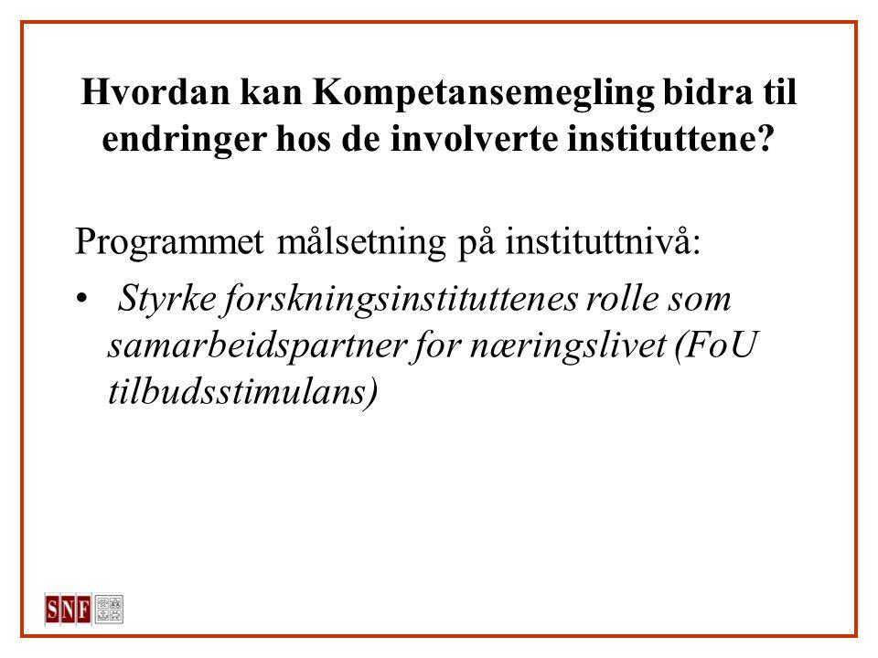 Hvordan kan Kompetansemegling bidra til endringer hos de involverte instituttene? Programmet målsetning på instituttnivå: Styrke forskningsinstitutten