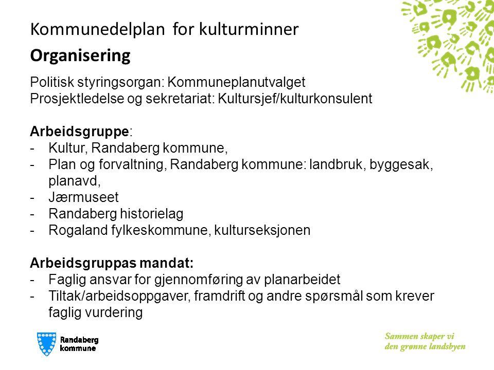 Kommunedelplan for kulturminner Organisering Politisk styringsorgan: Kommuneplanutvalget Prosjektledelse og sekretariat: Kultursjef/kulturkonsulent Ar