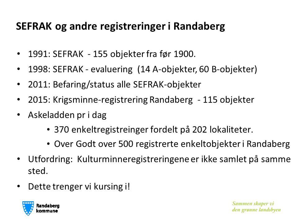 SEFRAK og andre registreringer i Randaberg 1991: SEFRAK - 155 objekter fra før 1900. 1998: SEFRAK - evaluering (14 A-objekter, 60 B-objekter) 2011: Be