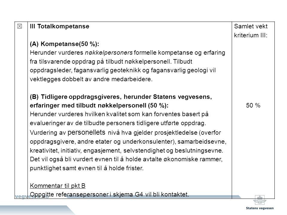  III Totalkompetanse (A) Kompetanse(50 %): Herunder vurderes nøkkelpersoners formelle kompetanse og erfaring fra tilsvarende oppdrag på tilbudt nøkkelpersonell.