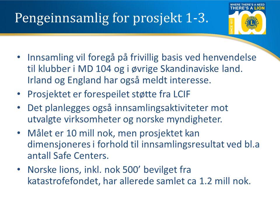 Pengeinnsamlig for prosjekt 1-3. Innsamling vil foregå på frivillig basis ved henvendelse til klubber i MD 104 og i øvrige Skandinaviske land. Irland