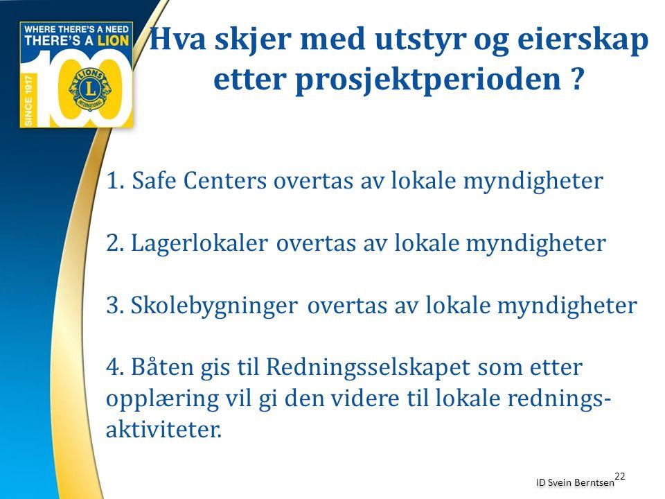 Hva skjer med utstyr og eierskap etter prosjektperioden ? 22 ID Svein Berntsen 1. Safe Centers overtas av lokale myndigheter 2. Lagerlokaler overtas a