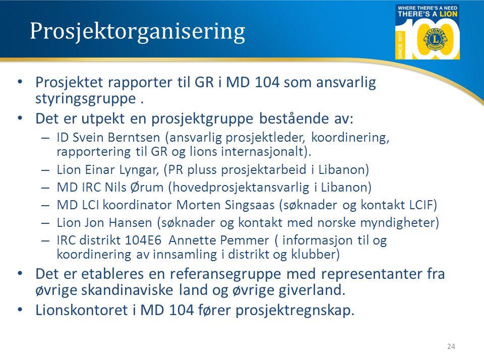 Prosjektorganisering Prosjektet rapporter til GR i MD 104 som ansvarlig styringsgruppe. Det er utpekt en prosjektgruppe bestående av: – ID Svein Bernt