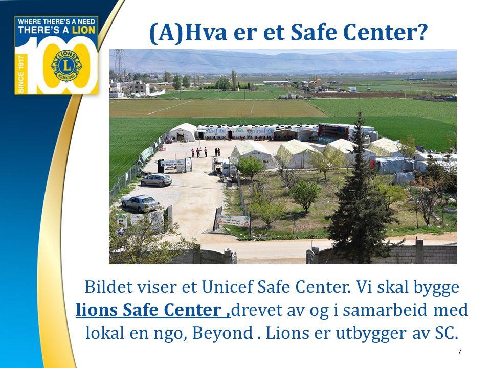 (A)Hva er et Safe Center? 7 Bildet viser et Unicef Safe Center. Vi skal bygge lions Safe Center,drevet av og i samarbeid med lokal en ngo, Beyond. Lio