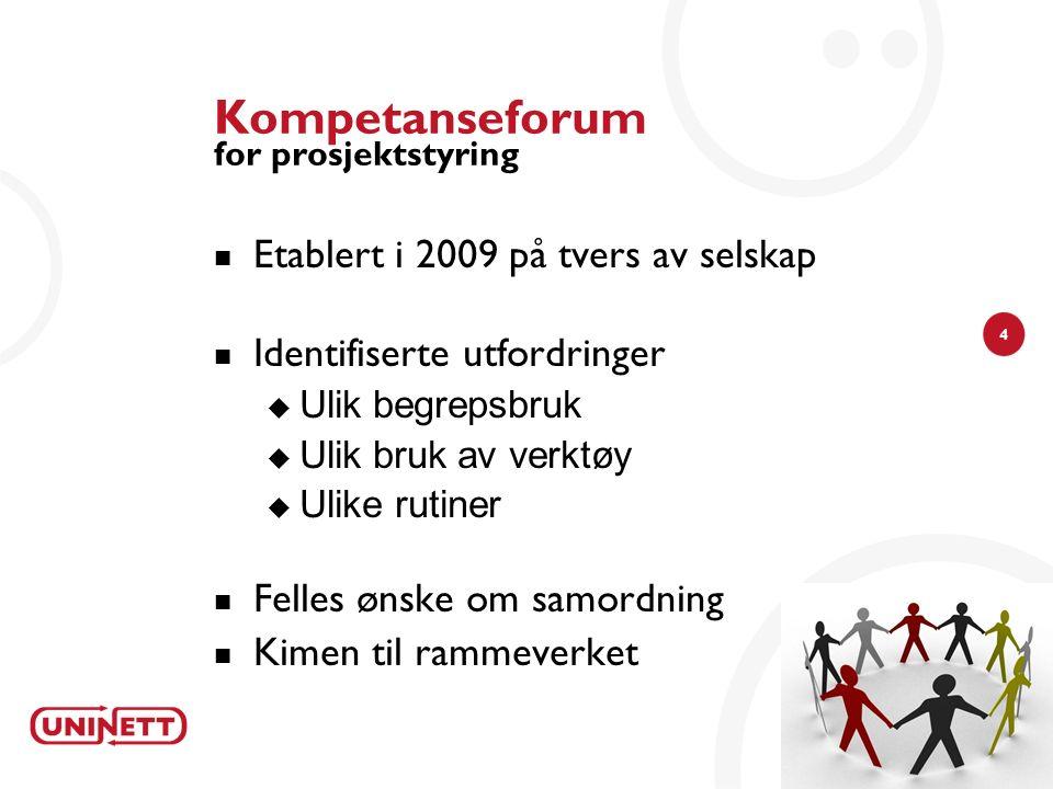 4 Kompetanseforum for prosjektstyring Etablert i 2009 på tvers av selskap Identifiserte utfordringer  Ulik begrepsbruk  Ulik bruk av verktøy  Ulike