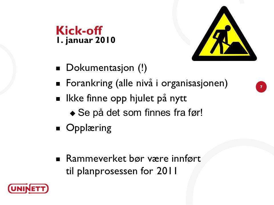 7 Kick-off 1. januar 2010 Dokumentasjon (!) Forankring (alle nivå i organisasjonen) Ikke finne opp hjulet på nytt  Se på det som finnes fra før! Oppl