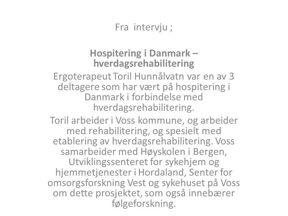Fra intervju ; Hospitering i Danmark – hverdagsrehabilitering Ergoterapeut Toril Hunnålvatn var en av 3 deltagere som har vært på hospitering i Danmark i forbindelse med hverdagsrehabilitering.