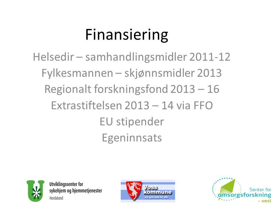 Finansiering Helsedir – samhandlingsmidler 2011-12 Fylkesmannen – skjønnsmidler 2013 Regionalt forskningsfond 2013 – 16 Extrastiftelsen 2013 – 14 via