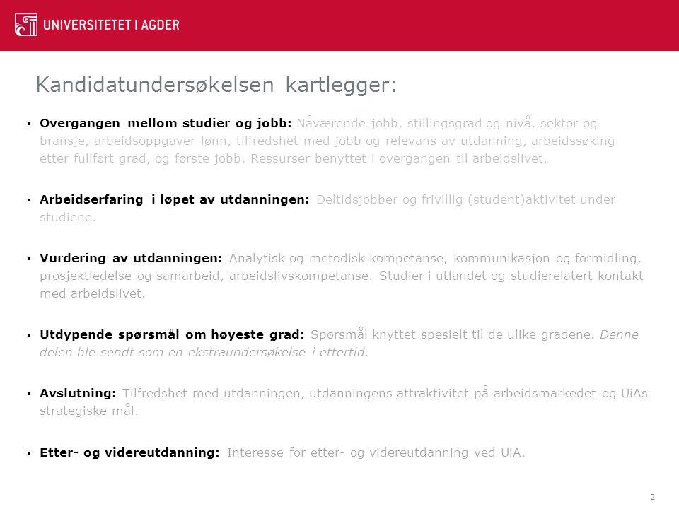 Kandidatundersøkelsen kartlegger: 2  Overgangen mellom studier og jobb: Nåværende jobb, stillingsgrad og nivå, sektor og bransje, arbeidsoppgaver løn