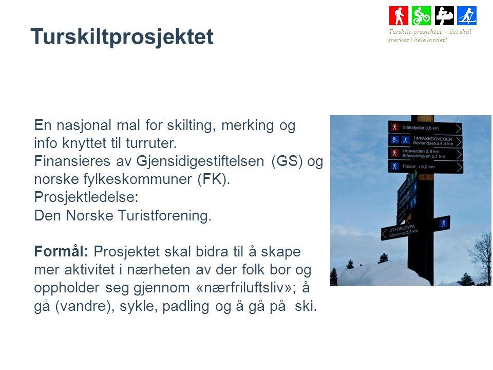 Turskiltprosjektet En nasjonal mal for skilting, merking og info knyttet til turruter.