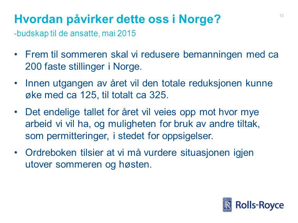 Hvordan påvirker dette oss i Norge? -budskap til de ansatte, mai 2015 Frem til sommeren skal vi redusere bemanningen med ca 200 faste stillinger i Nor