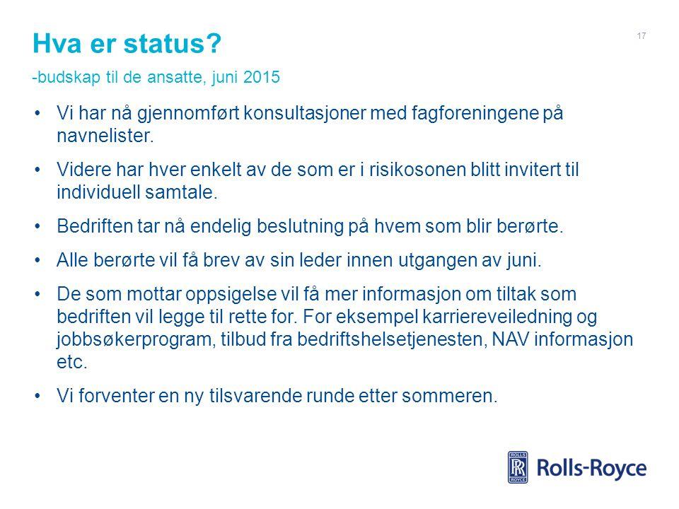 Hva er status? -budskap til de ansatte, juni 2015 Vi har nå gjennomført konsultasjoner med fagforeningene på navnelister. Videre har hver enkelt av de