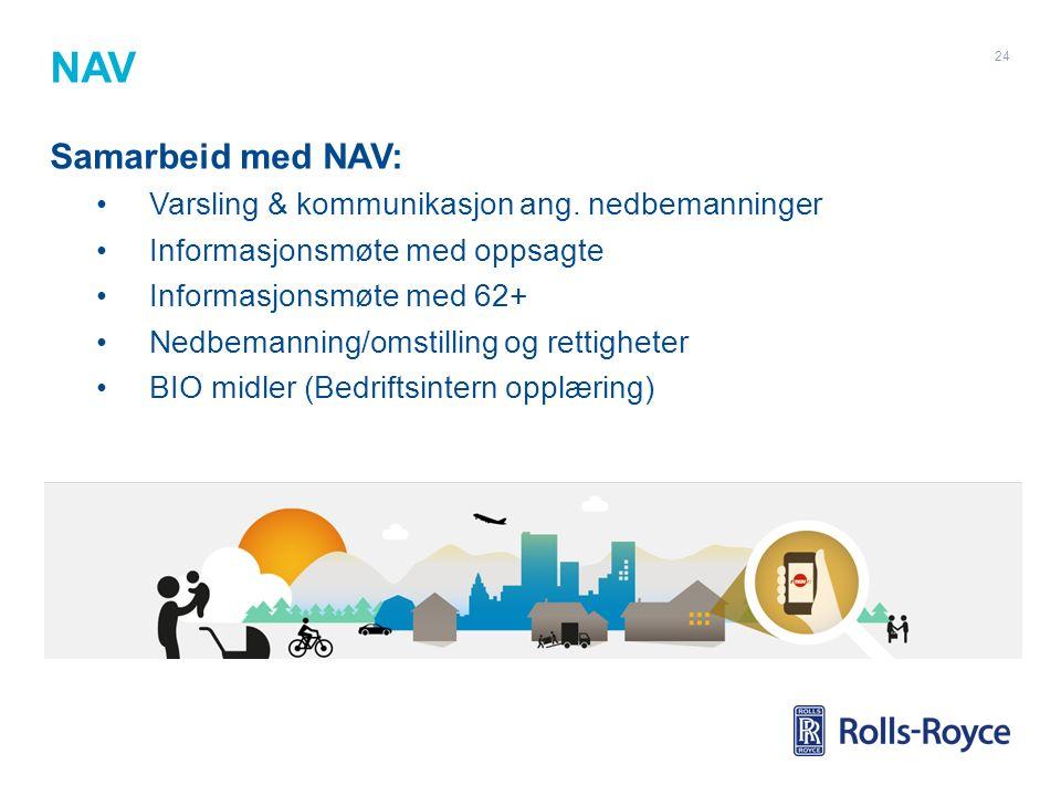 NAV Samarbeid med NAV: Varsling & kommunikasjon ang. nedbemanninger Informasjonsmøte med oppsagte Informasjonsmøte med 62+ Nedbemanning/omstilling og