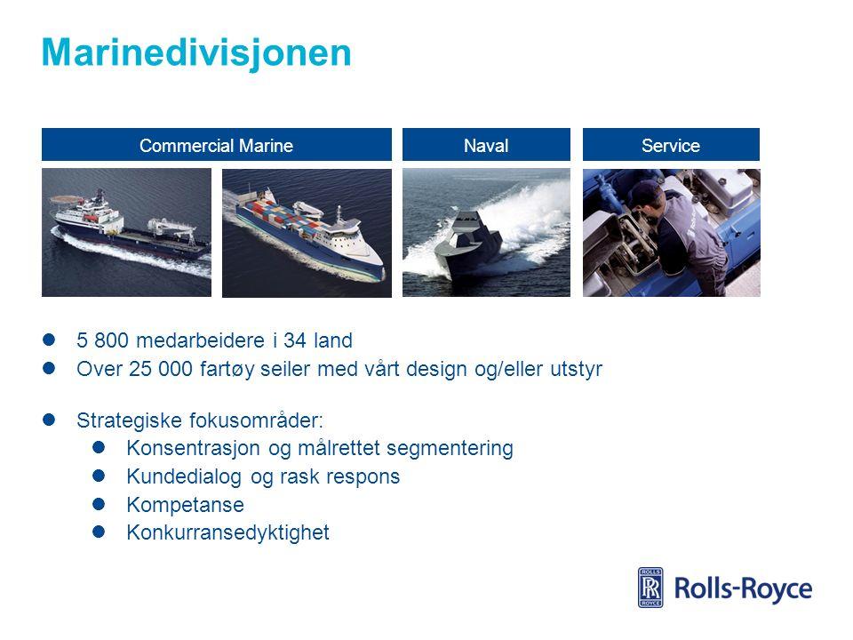 Marinedivisjonen Commercial MarineNavalService 5 800 medarbeidere i 34 land Over 25 000 fartøy seiler med vårt design og/eller utstyr Strategiske fokusområder: Konsentrasjon og målrettet segmentering Kundedialog og rask respons Kompetanse Konkurransedyktighet