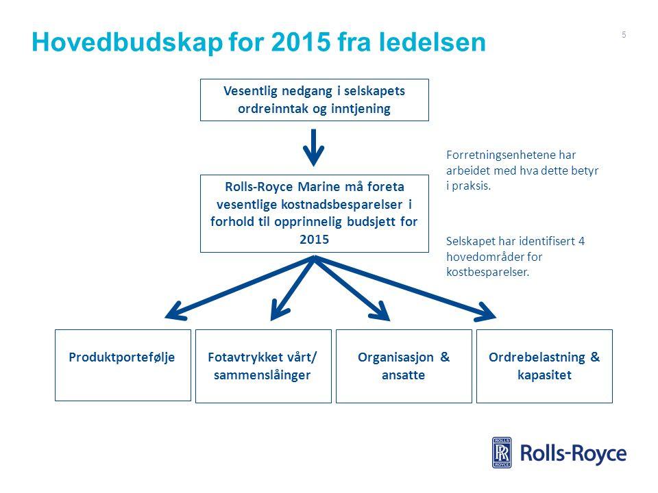 Hovedbudskap for 2015 fra ledelsen 5 Vesentlig nedgang i selskapets ordreinntak og inntjening Rolls-Royce Marine må foreta vesentlige kostnadsbesparel
