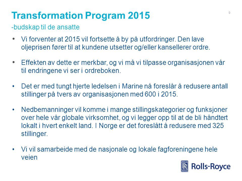 Transformation Program 2015 -budskap til de ansatte Vi forventer at 2015 vil fortsette å by på utfordringer. Den lave oljeprisen fører til at kundene