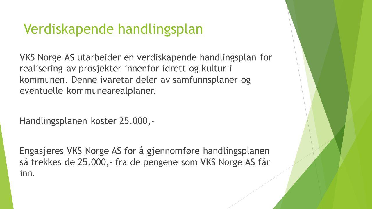 Verdiskapende handlingsplan VKS Norge AS utarbeider en verdiskapende handlingsplan for realisering av prosjekter innenfor idrett og kultur i kommunen.