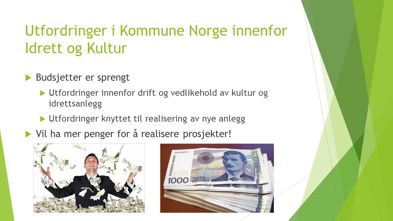 Utfordringer i Kommune Norge innenfor Idrett og Kultur  Budsjetter er sprengt  Utfordringer innenfor drift og vedlikehold av kultur og idrettsanlegg  Utfordringer knyttet til realisering av nye anlegg  Vil ha mer penger for å realisere prosjekter!