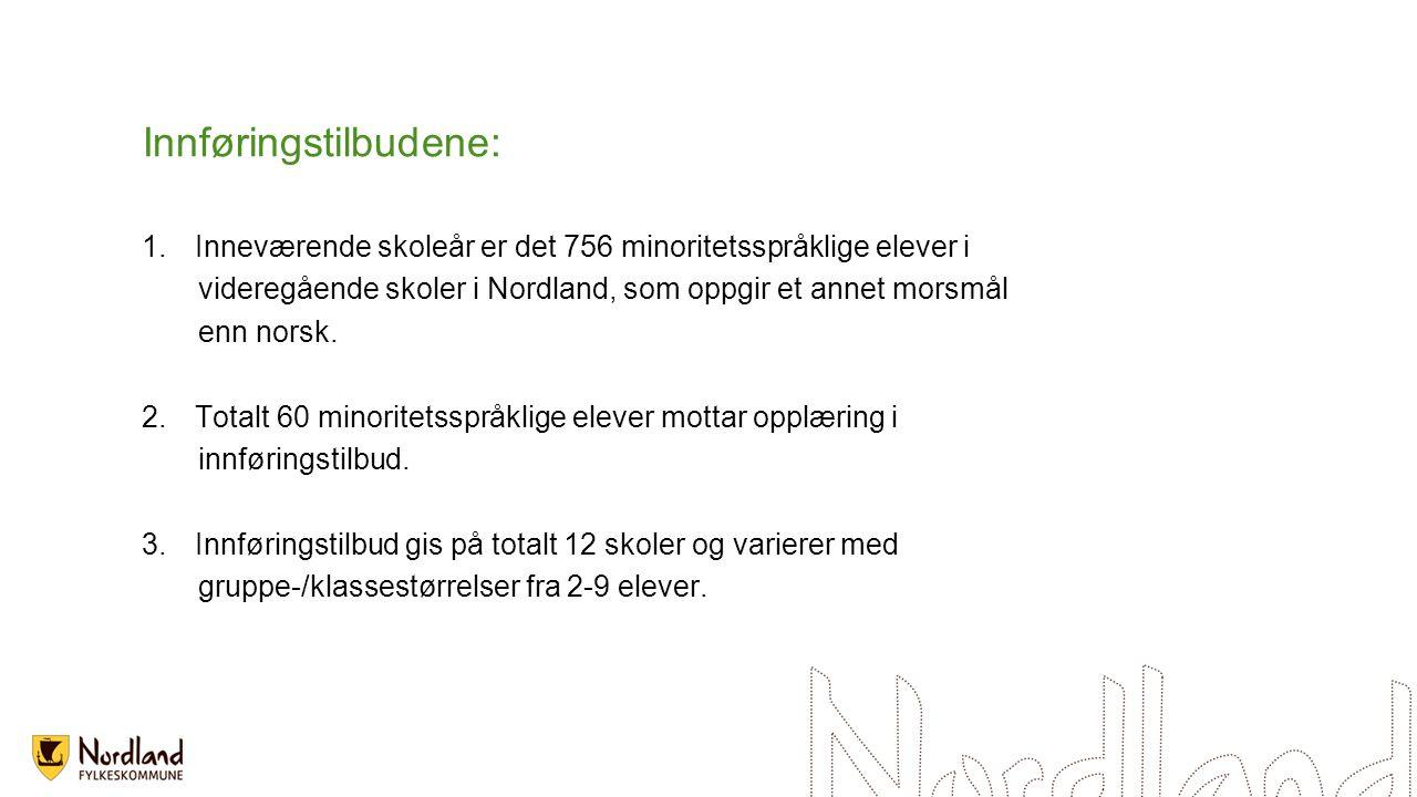 Innføringstilbudene: 1.Inneværende skoleår er det 756 minoritetsspråklige elever i videregående skoler i Nordland, som oppgir et annet morsmål enn norsk.