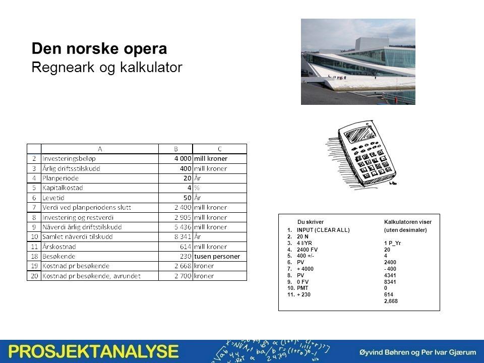 Den norske opera Regneark og kalkulator Du skriverKalkulatoren viser 1.INPUT (CLEAR ALL)(uten desimaler) 2.20 N 3.4 I/YR1 P_Yr 4.2400 FV20 5.400 +/-4 6.PV2400 7.+ 4000- 400 8.PV4341 9.0 FV8341 10.PMT0 11.+ 230614 2,668