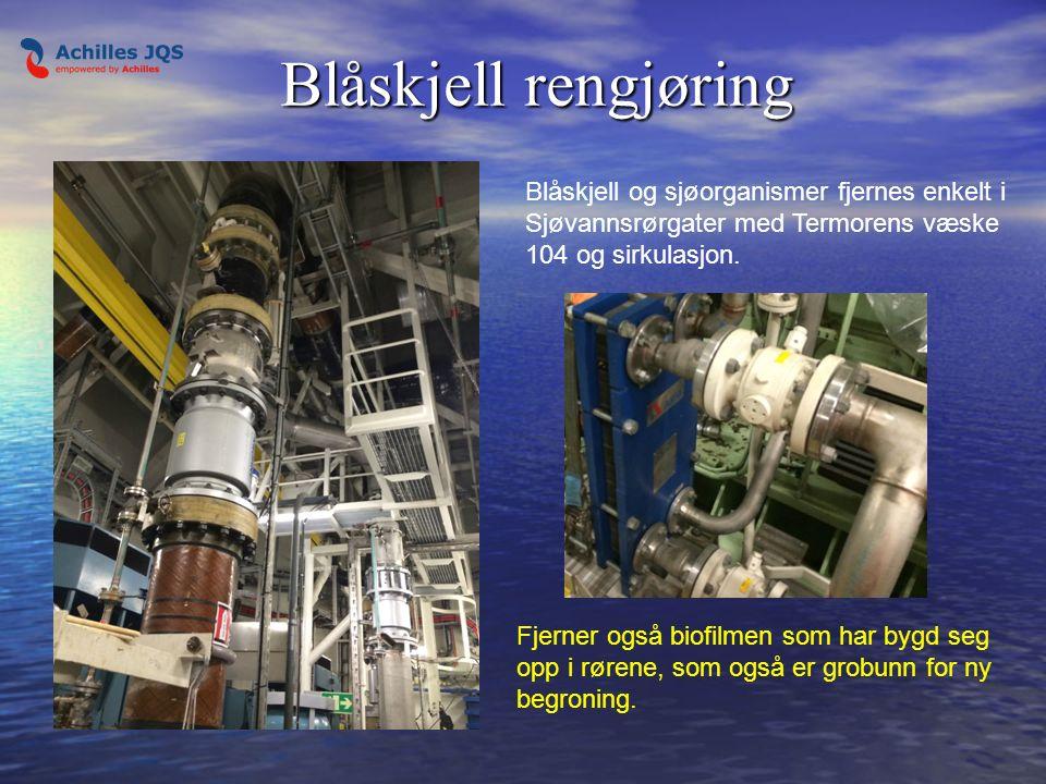 Termorens 104 rensevæske fylles inn i anlegget med egen pumpe med høy flow .