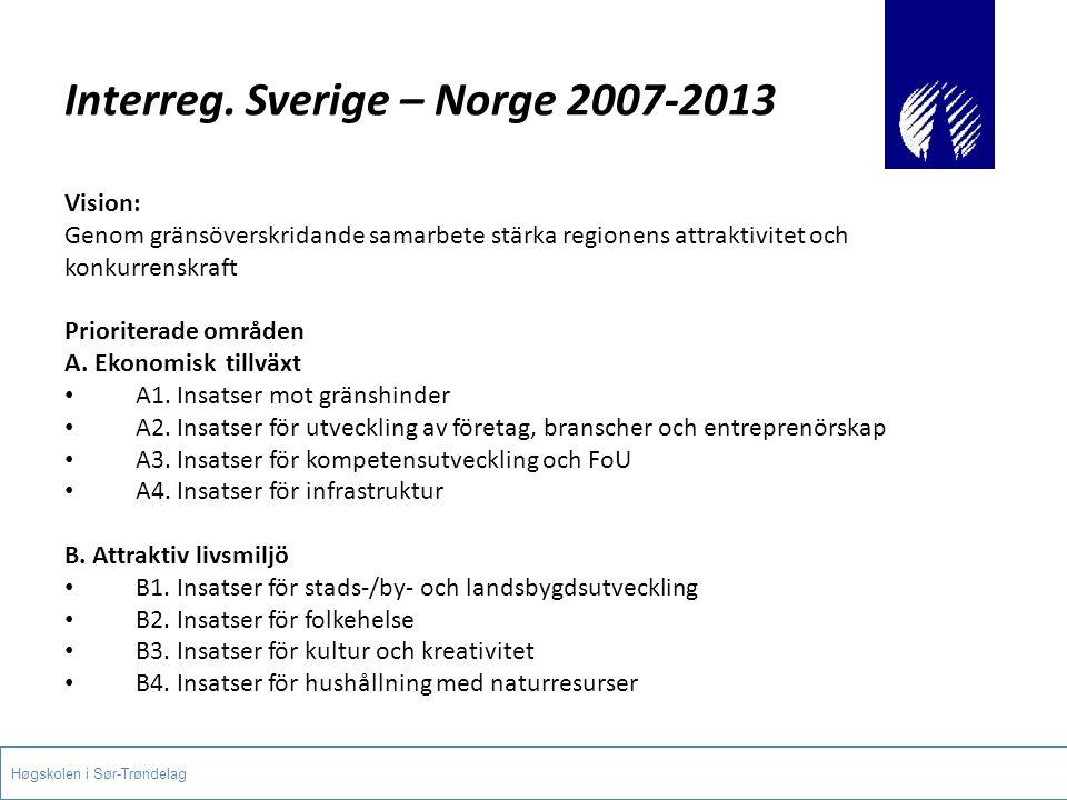 Interreg. Sverige – Norge 2007-2013 Vision: Genom gränsöverskridande samarbete stärka regionens attraktivitet och konkurrenskraft Prioriterade områden