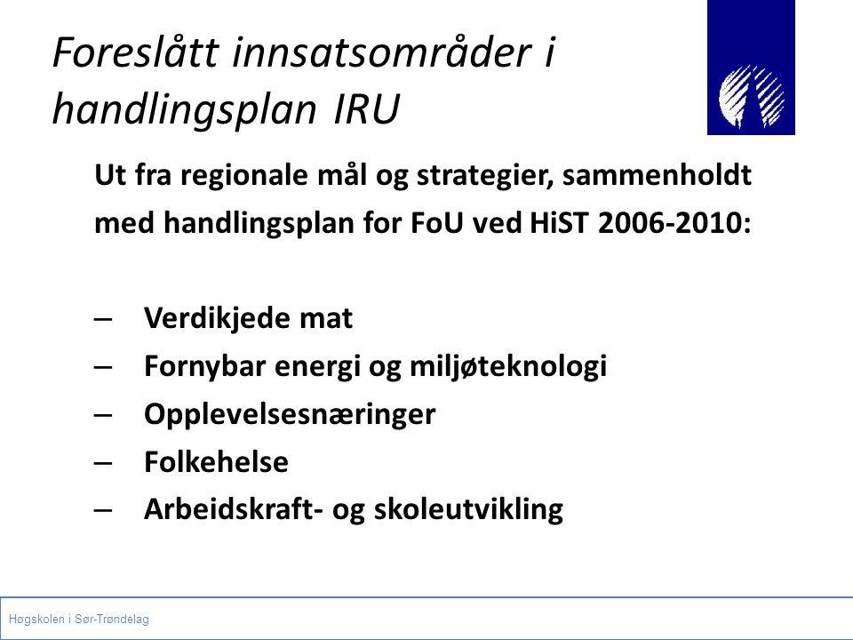 Foreslått innsatsområder i handlingsplan IRU Ut fra regionale mål og strategier, sammenholdt med handlingsplan for FoU ved HiST 2006-2010: – Verdikjed