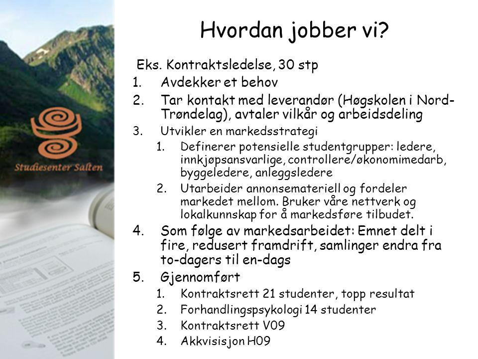 Hvordan jobber vi? Eks. Kontraktsledelse, 30 stp 1.Avdekker et behov 2.Tar kontakt med leverandør (Høgskolen i Nord- Trøndelag), avtaler vilkår og arb
