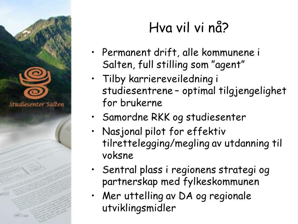 """Hva vil vi nå? Permanent drift, alle kommunene i Salten, full stilling som """"agent"""" Tilby karriereveiledning i studiesentrene – optimal tilgjengelighet"""