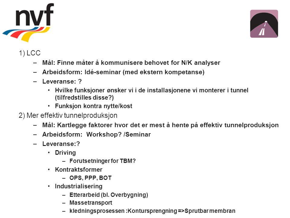 1) LCC –Mål: Finne måter å kommunisere behovet for N/K analyser –Arbeidsform: Idé-seminar (med ekstern kompetanse) –Leveranse: .
