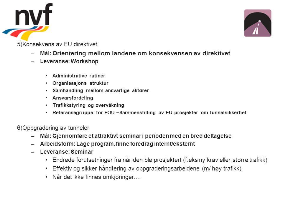 5)Konsekvens av EU direktivet –Mål: Orientering mellom landene om konsekvensen av direktivet –Leveranse: Workshop – ev.