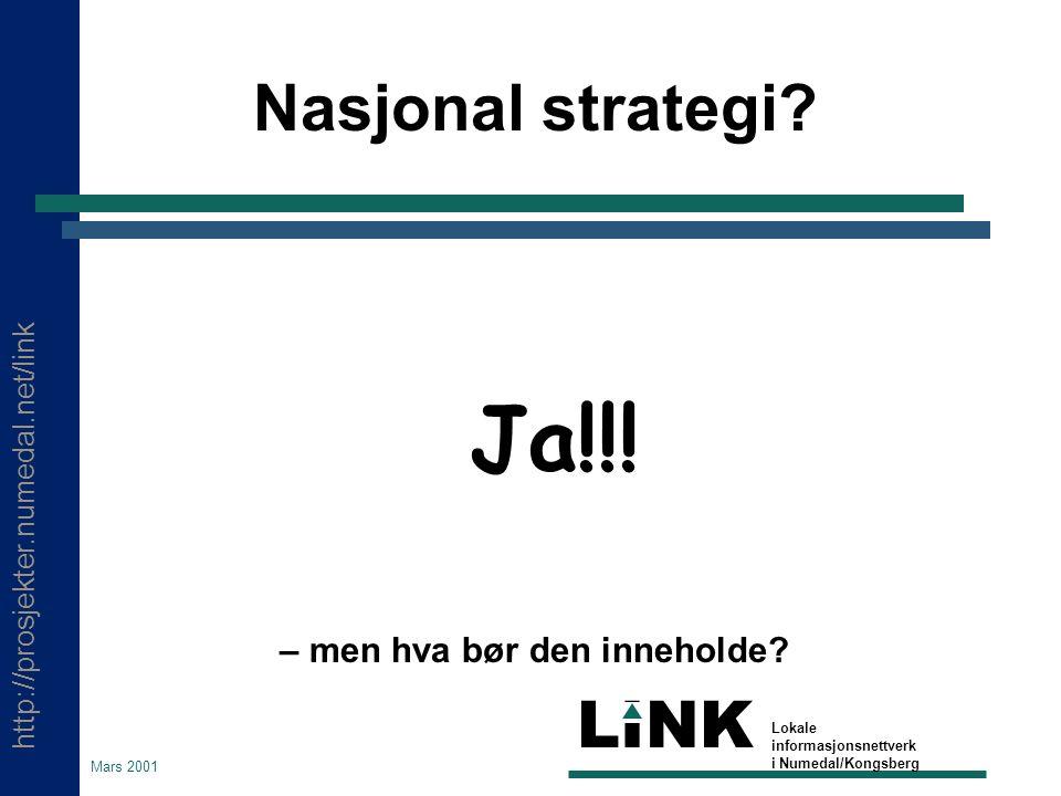 http://prosjekter.numedal.net/link LINK Lokale informasjonsnettverk i Numedal/Kongsberg Mars 2001 Nasjonal strategi? Ja!!! – men hva bør den inneholde