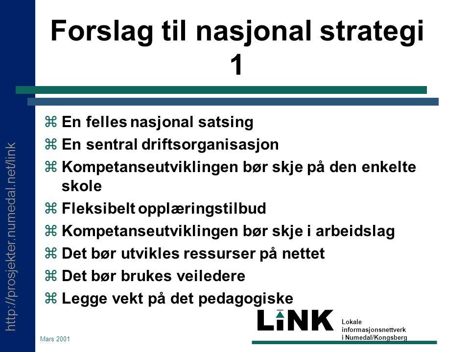 http://prosjekter.numedal.net/link LINK Lokale informasjonsnettverk i Numedal/Kongsberg Mars 2001 Forslag til nasjonal strategi 1  En felles nasjonal