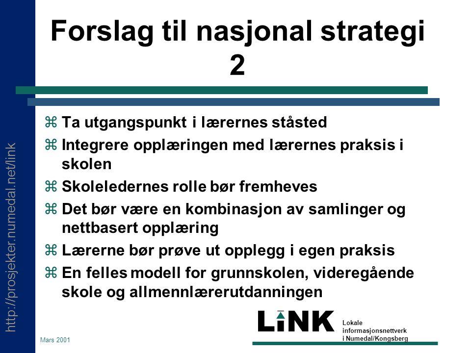 http://prosjekter.numedal.net/link LINK Lokale informasjonsnettverk i Numedal/Kongsberg Mars 2001 Forslag til nasjonal strategi 2  Ta utgangspunkt i