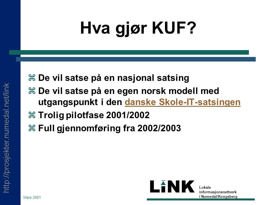 http://prosjekter.numedal.net/link LINK Lokale informasjonsnettverk i Numedal/Kongsberg Mars 2001 Hva gjør KUF?  De vil satse på en nasjonal satsing