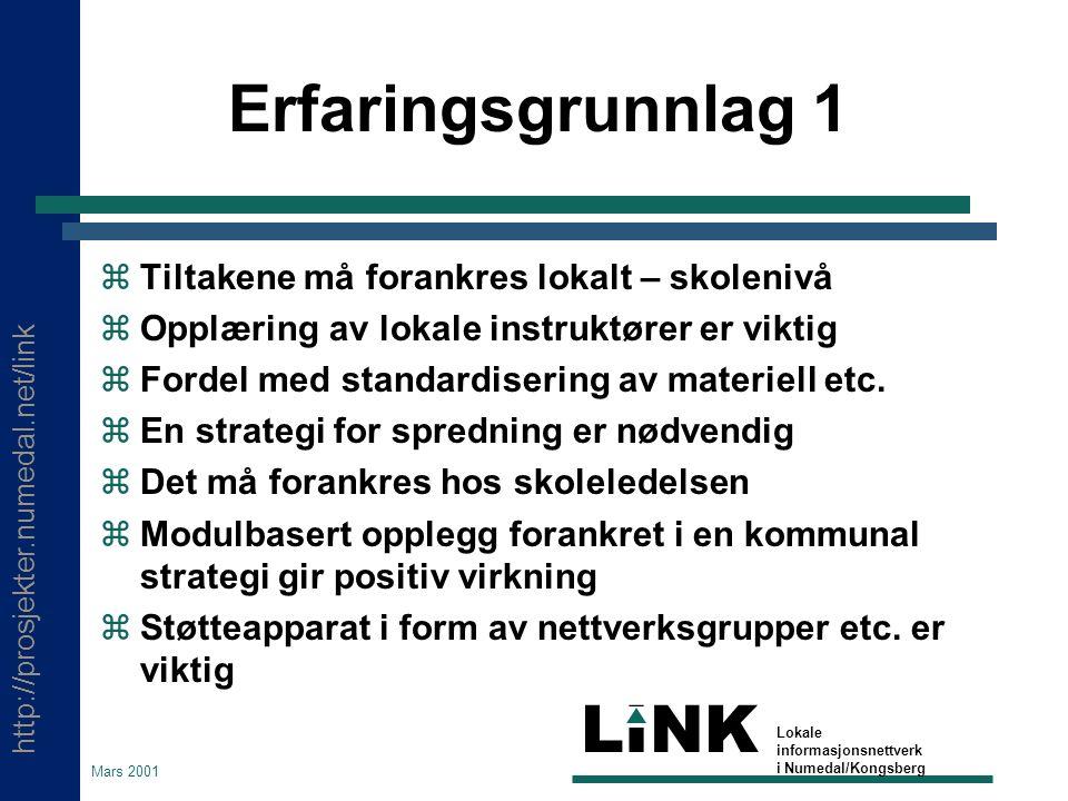 http://prosjekter.numedal.net/link LINK Lokale informasjonsnettverk i Numedal/Kongsberg Mars 2001 Erfaringsgrunnlag 1  Tiltakene må forankres lokalt – skolenivå  Opplæring av lokale instruktører er viktig  Fordel med standardisering av materiell etc.