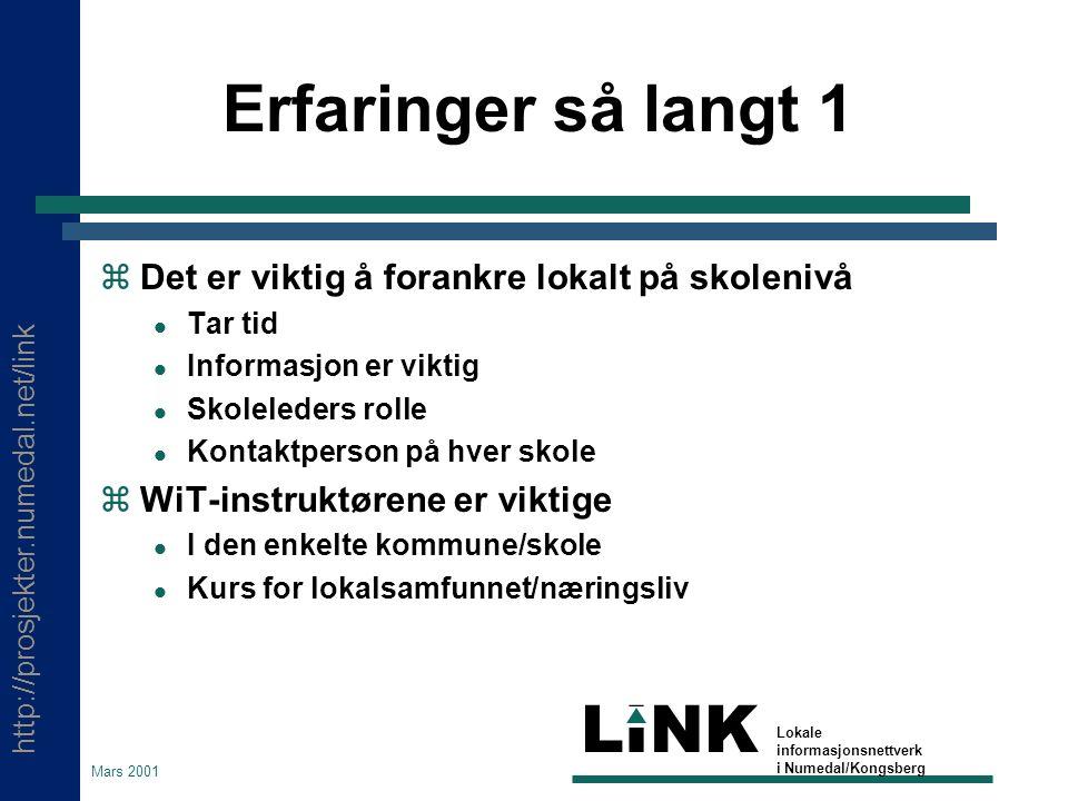 http://prosjekter.numedal.net/link LINK Lokale informasjonsnettverk i Numedal/Kongsberg Mars 2001 Erfaringer så langt 1  Det er viktig å forankre lok