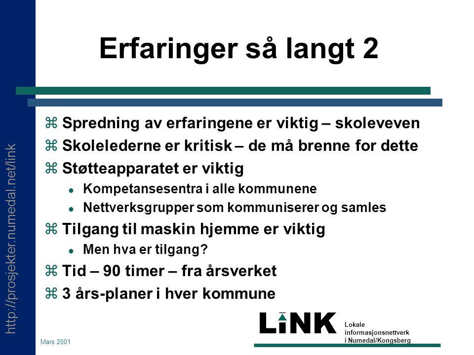 http://prosjekter.numedal.net/link LINK Lokale informasjonsnettverk i Numedal/Kongsberg Mars 2001 Erfaringer så langt 2  Spredning av erfaringene er