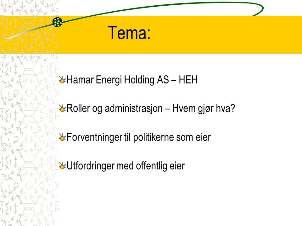 Hamar Energi Holding AS - HEH Etablert i 2004 – forvalter 21,89% av aksjene i Eidsiva Energi AS 100% eid av Hamar kommune Formål: Forvalte eierskapet i energisektoren for Hamar kommune samt eie aksjer og forestå kapitalforvaltning Profesjonalisert styre –Bjørn T.