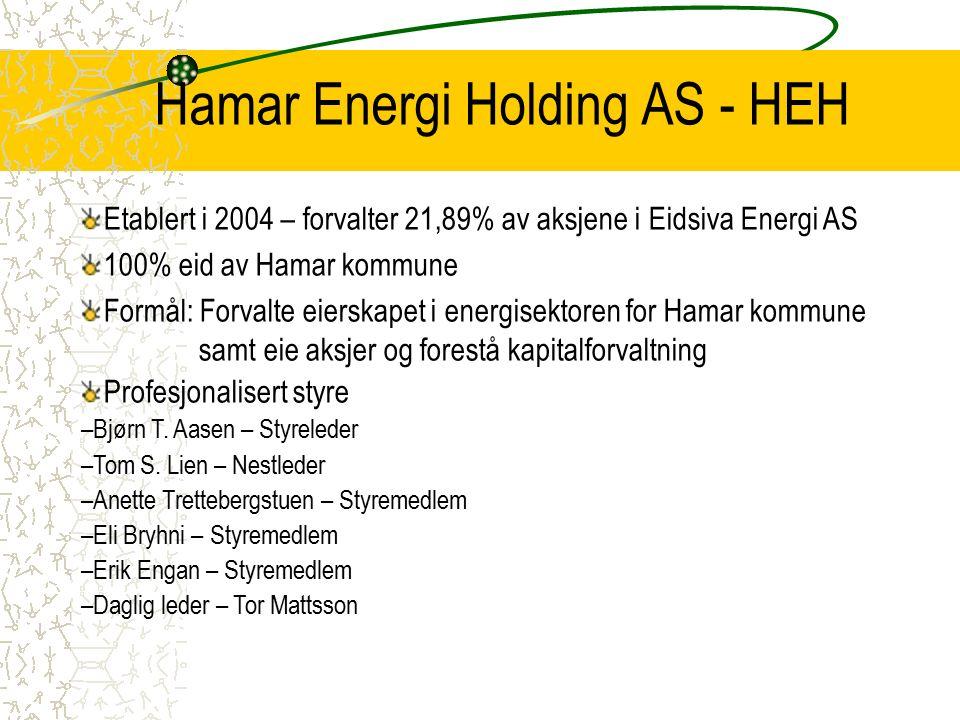 Hamar Energi Holding AS - HEH Underlagt AL samt Hamar kommunes eierprinsipper og gjeldende vedtekter Styringsdokumenter forøvrig Gi et forutsigbart utbytte til Hamar kommune Styrke eierinnflytelsen i Eidsiva Energi Sikre en god informasjonsflyt –HEH – Eidsiva –HEH – Hamar kommune –HEH – Andre eiere