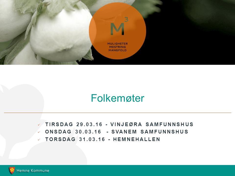 TIRSDAG 29.03.16 - VINJEØRA SAMFUNNSHUS ONSDAG 30.03.16 - SVANEM SAMFUNNSHUS TORSDAG 31.03.16 - HEMNEHALLEN Folkemøter